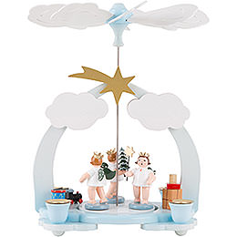 1 - Tier Pyramid  -  Three Angels with Presents  -  23cm / 9 inch