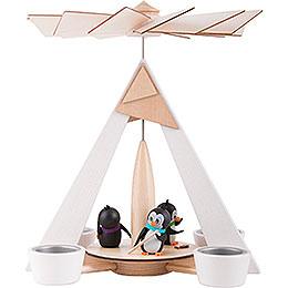 1 - stöckige Pyramide Pinguine weiß  -  29cm