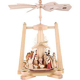 1 -  tier Pyramid Nativity Scene  -  natural wood  -  11 inch  -  29cm