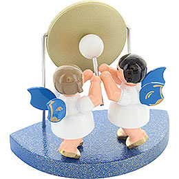 2 Angels with Big Gong Fitting Cloud Connector System  -  Blue Wings  -  Standing  -  6cm / 2,3 inch