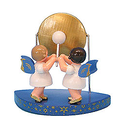 2 Engel am großen Gong passend zu einfachen Wolken  -  Blaue Flügel  -  stehend  -  6cm