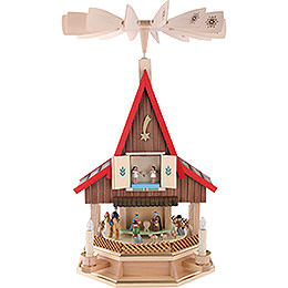 2 -  tier Adventhouse electrically driven Nativity Scene by Richard Glässer -  53cm / 21inch