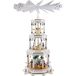 3 - Tier Pyramid  -  Nativity, White  -  76cm / 30 inch