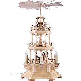3 - Tier Pyramid  -  The Christmas Story  -  50cm / 20 inch  -  230 V Electr. Motor