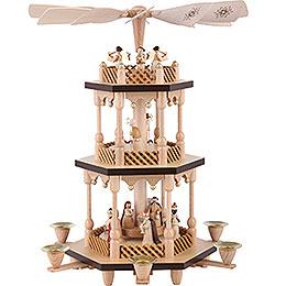 3 - stöckige Pyramide Christi Geburt  -  natur  -  38cm