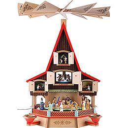 3 - stöckiges Adventshaus Krippe und Fenster, elektrisch beleuchtet  -  62cm