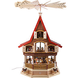 3 -  tier Adventhouse  -  Nativity Scene  -  30 inch  -  77cm