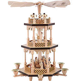 3 -  tier Pyramid Nativity Scene  -  natural wood  -  15 inch  -  38cm