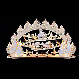3D Candle Arch  -  'Children in the Winter Village'  -  66x40x11,5cm / 26x16x5 inch