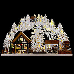 3D Candle arch Christmas bakery with Walki figures  -  72x43cm / 28x17inch
