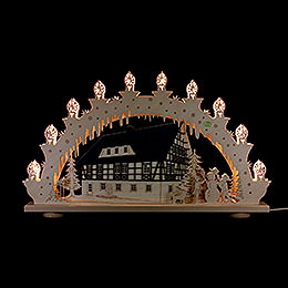 3D Candle arch 'Half timbered house'  -  66x39x6cm / 26x15x2.3inch