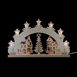 """3D - Schwibbogen """"Auf dem Weihnachtsmarkt""""  -  52x32x4,5cm"""