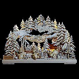 3D Schwibbogen  -  Schneemannparadies mit Raureif  -  43x30x7cm