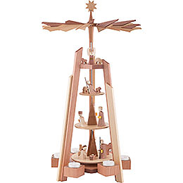 4 - tier pyramid for teacandles with Nativity scene. Rosewood  -  60cm / 23.62inch