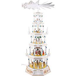 5 - stöckige Lichterpyramide von Richard Glässer  -  Romantik  -  weiß  -  123cm