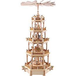 5 -  tier Pyramid Nativity Scene natural wood  -  28 inch  -  70cm