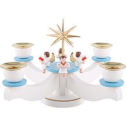 Adventsleuchter weiß/blau mit vier sitzenden Engeln  -  22x22x19cm