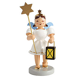 Angel short skirt colored, lantern and star  -  6,6cm / 2.5inch