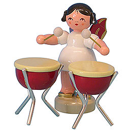 Angel with 2 Timbals  -  Red Wings  -  Standing  -  6cm / 2,3 inch