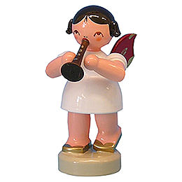 Angel with Flute  -  Red Wings  -  Standing  -  6cm / 2,3 inch