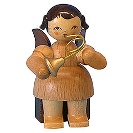Angel with French horn  -  natural colors  -  sitting  -  5cm / 2 inch