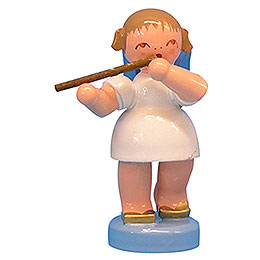 Angel with German flute  -  Blue Wings  -  standing  -  6cm / 2,3 inch