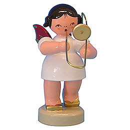 Angel with Trombone  -  Red Wings  -  Standing  -  6cm / 2,3 inch