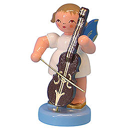 Angel with cello  -  Blue Wings  -  standing  -  6cm / 2,3 inch