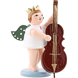 Angel with crown and contrabass  -  6,5cm / 2.5inch