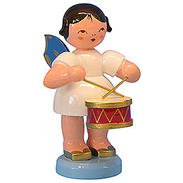 Angel with drum  -  Blue Wings  -  standing  -  9,5cm / 3,7 inch