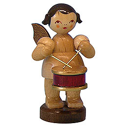 Angel with drum  -  natural colors  -  standing  -  6cm / 2,3 inch