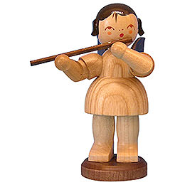 Angel with flute  -  natural colors  -  standing  -  9,5cm / 3,7 inch