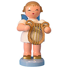 Angel with lyre  -  Blue Wings  -  standing  -  9,5cm / 3,7 inch