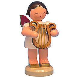 Angel with lyre  -  Red Wings  -  standing  -  9,5cm / 3,7 inch