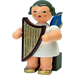 Angel with lyre  -  blue wings  -  sitting  -  5cm / 2inch