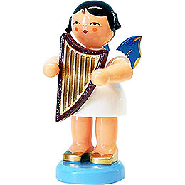 Angel with lyre  -  blue wings  -  standing  -  9,5cm / 3.7inch