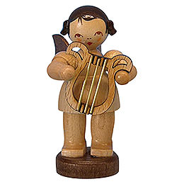 Angel with lyre  -  natural colors  -  standing  -  6cm / 2,3 inch