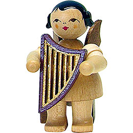 Angel with lyre  -  natural  -  sitting  -  5cm / 2inch