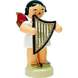 Angel with lyre  -  red wings  -  standing  -  6cm / 2.3inch