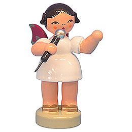 Angel with microphone  -  Red Wings  -  standing  -  6cm / 2,3 inch