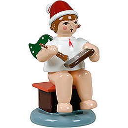 Baker angel sitting with hat and ginger bread  -  6,5cm / 2.5inch