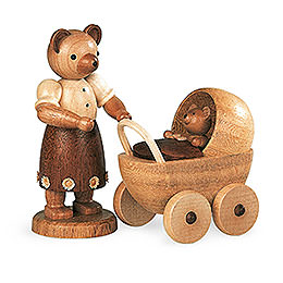 Bear mother with buggy  -  10cm / 4 inch