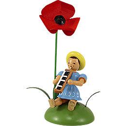 Blumenkind mit Mohnblume sitzend  -  11cm