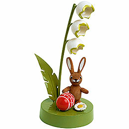 Bunny with lily of the valley  -  7cm / 3 inches