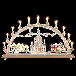 Candle Arch Dresden's Church of our Lady with carriage and figures  -  68x35cm / 27x14inch