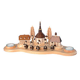 Candle Holder Seiffen Village  -  16cm / 6 inches