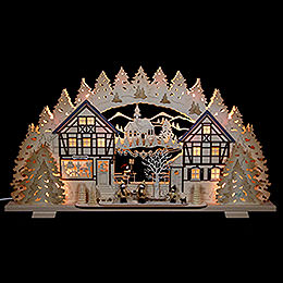 Candle arch Arts & Crafts with figures by Thiel  -  72x41x7cm / 28x16x3inch