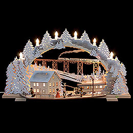 Candle arch Train ride in the Ore Mountains with snow (variable)  -  72x43x13cm / 28x16x5inch