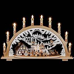 Candle arch with lumbermen  -  67x42x15cm / 26x16.5x6inch
