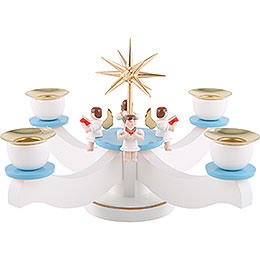 Candle holder advent blue/white with sitting angels  -  22x 22x 19cm / 9x9x7inch